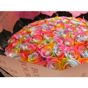 お祝 記念日 女性 彼女 サプライズ レインボーローズ バラ 100本 花束  枯れない花 プリザーブドフラワー 100本 花束|leaves78|11