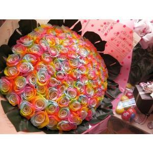お祝 記念日 女性 彼女 サプライズ レインボーローズ バラ 100本 花束  枯れない花 プリザーブドフラワー 100本 花束|leaves78|12