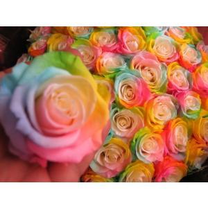 お祝 記念日 女性 彼女 サプライズ レインボーローズ バラ 100本 花束  枯れない花 プリザーブドフラワー 100本 花束|leaves78|05