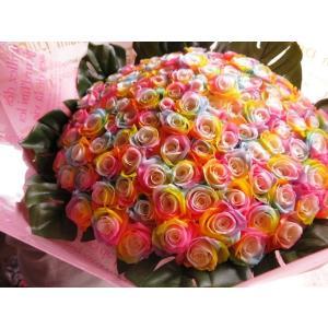 お祝 記念日 女性 彼女 サプライズ レインボーローズ バラ 100本 花束  枯れない花 プリザーブドフラワー 100本 花束|leaves78|07
