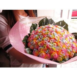 お祝 記念日 女性 彼女 サプライズ レインボーローズ バラ 100本 花束  枯れない花 プリザーブドフラワー 100本 花束|leaves78|08