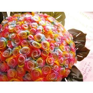 お祝 記念日 女性 彼女 サプライズ レインボーローズ バラ 100本 花束  枯れない花 プリザーブドフラワー 100本 花束|leaves78|09