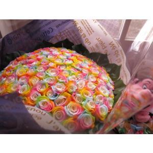 お祝 記念日 女性 彼女 サプライズ レインボーローズ バラ 100本 花束  枯れない花 プリザーブドフラワー 100本 花束|leaves78|10
