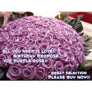 プロポーズ 花 紫バラ 花束 100本  プリザーブドフラワー  紫バラ 花束 100本 プリザーブ...