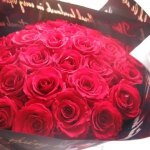 クリスマスプレゼント 赤バラ 花束 プリザーブドフラワー 20本 大輪系  ブーケ風  ◆プリザーブ...