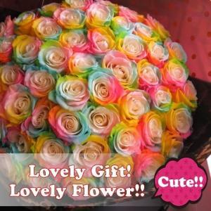 クリスマスプレゼント 花束 レインボーローズ  プリザーブドフラワー使用 枯れない 大輪レインボーローズ  50本 花束|leaves78