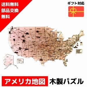 立体パズル ウッドトリック アメリカ地図 木の世界地図パズル 3Dウッドパズル/模型