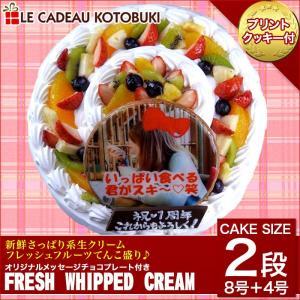 写真ケーキ フレッシュフルーツ乗せフレッシュ生クリームのショ...