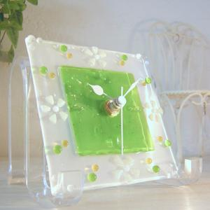ガラス製インテリア掛け置き時計 colza-003|leccia