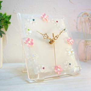 ガラス製インテリア掛け置き時計 Fiore-001|leccia