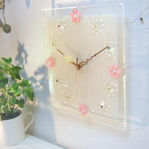 ガラス製インテリア掛け置き時計 Fiore-002|leccia