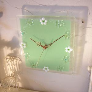 ガラス製インテリア掛け置き時計 Fiore-004|leccia
