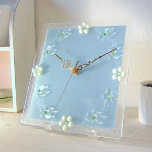 ガラス製インテリア掛け置き時計 Fiore-005|leccia