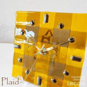 ガラス製インテリア掛け置き時計 Plaid-001 leccia