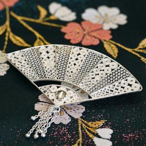 フィリグリー 扇 ブローチペンダント 美しい手仕事の繊細な銀線細工 ジョグジャカルタ メール便不可
