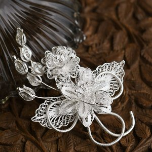 フィリグリー ブーケ ブローチ michiko model 美しい手仕事の繊細な銀線細工 ジョグジャ...