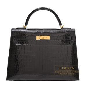 エルメス ケリー32/外縫い ブラック クロコダイル ポロサス ゴールド金具
