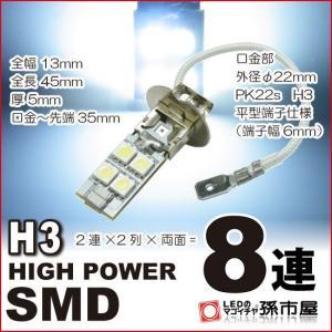 H3 LED フォグランプ  ハイパワーSMD8連-白/ホワイト PK22s DC12V 車 LED...