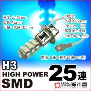 H3 LED フォグランプ  SMD25連-青/ブルー PK22s DC12V 車 LED 孫市屋