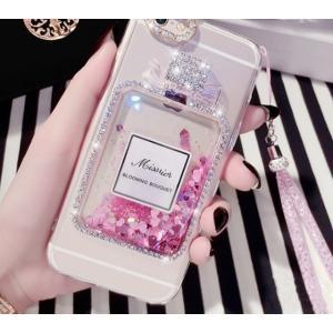 iPhoneケース アイフォン iPhone7 7plus iPhone8 8plus 香水 流砂 ビジュー ラメ 可愛い スノードーム パフューム ゆめかわ 香水瓶|led