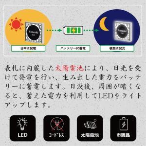 LED表札 ブラックフレーム S005「レギュラー」 ソーラー内蔵 電気工事なしでも光る|ledhyousatukoubou|04