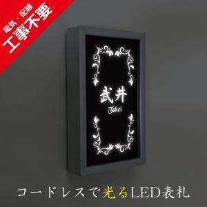 LED表札 シルバーフレーム S005縦型「アイビー」 ソーラー内蔵 電気工事なしでも光る ledhyousatukoubou