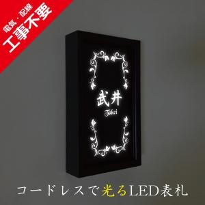 LED表札 ブラックフレーム S005縦型「アイビー」 ソーラー内蔵 電気工事なしでも光る|ledhyousatukoubou