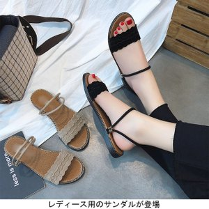 サンダル PU レディース アンクルストラップサンダル 女性用 ローヒール ミュール シューズ 夏物 靴 滑り止め加工 くつ 無地|lefutur