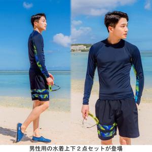 水着 2点セット メンズ 長袖 半ズボン 水泳服 短パン スイムウェア 男性用 スイミング ビーチウェア サーフィン ハーフパンツ lefutur