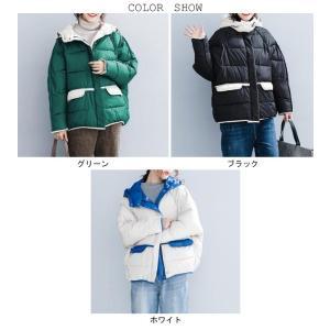 中綿ジャケット レディース 厚手 ジャケット 色切り替え フード付き 中綿コート 防寒 女性用 中綿 アウター 厚手 冬物 可愛い|lefutur|02