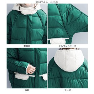 中綿ジャケット レディース 厚手 ジャケット 色切り替え フード付き 中綿コート 防寒 女性用 中綿 アウター 厚手 冬物 可愛い|lefutur|11