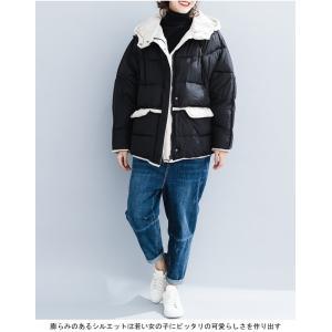 中綿ジャケット レディース 厚手 ジャケット 色切り替え フード付き 中綿コート 防寒 女性用 中綿 アウター 厚手 冬物 可愛い|lefutur|05