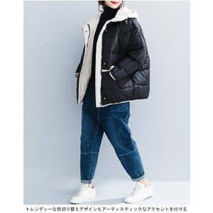 中綿ジャケット レディース 厚手 ジャケット 色切り替え フード付き 中綿コート 防寒 女性用 中綿 アウター 厚手 冬物 可愛い|lefutur|06