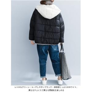 中綿ジャケット レディース 厚手 ジャケット 色切り替え フード付き 中綿コート 防寒 女性用 中綿 アウター 厚手 冬物 可愛い|lefutur|07