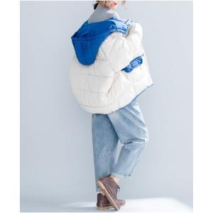 中綿ジャケット レディース 厚手 ジャケット 色切り替え フード付き 中綿コート 防寒 女性用 中綿 アウター 厚手 冬物 可愛い|lefutur|10