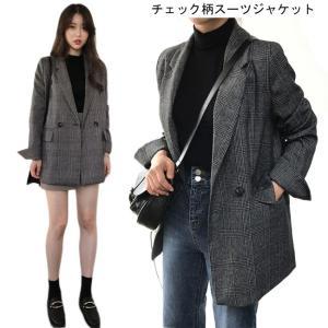 テーラード レディース スーツジャケット チェック柄 ブレザー ゆったり ジャケット レトロ 女性用 スーツトップス グレンチェック アウター|lefutur