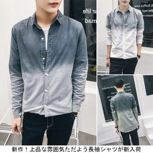 新作!上品な雰囲気ただよう長袖シャツが新入荷! 繊細なグラーデションが目を惹く長袖シャツ! スリムシ...