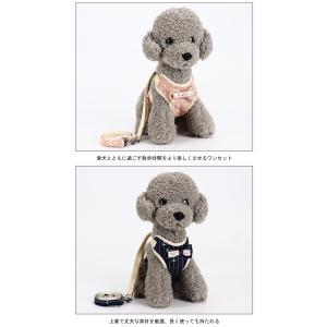 犬用 ハーネス リード 2点セット 胴輪 チェック柄 犬服 小型犬 ペット用品 蝶ネクタイ ドッグウェア 可愛い ペット服 お洒落|lefutur|08