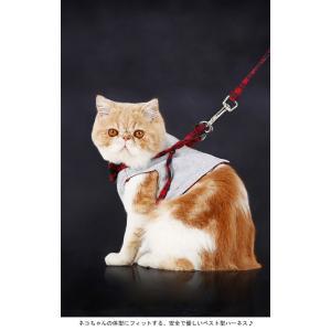 ハーネス リード セット 猫用品 キャット ネコちゃん チェック柄 リボン付き マジックテープ付き 胴輪 ベスト型ウェアハーネス|lefutur|03