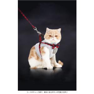 ハーネス リード セット 猫用品 キャット ネコちゃん チェック柄 リボン付き マジックテープ付き 胴輪 ベスト型ウェアハーネス|lefutur|04