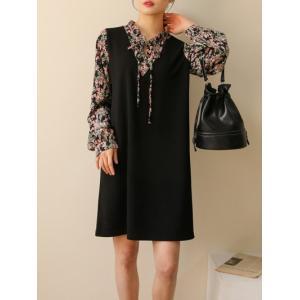 レディース ワンピース 花柄ドッキングワンピース セット風  春 きれいめ 体型カバー 大人カジュアル レディースファッション 韓国 韓国ファッション|legicajeana