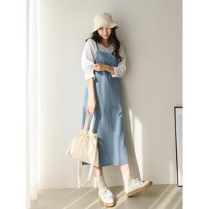 レディース ワンピース ジャンパースカート デニム 春 きれいめ 体型カバー 大人カジュアル レディースファッション 韓国 韓国ファッション|legicajeana