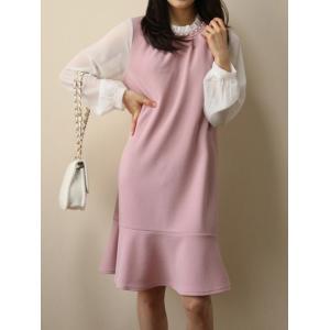 レディース ワンピース 異素材切替デザイワンピース ひざ丈  春 きれいめ 体型カバー 大人カジュアル レディースファッション 韓国 韓国ファッション|legicajeana