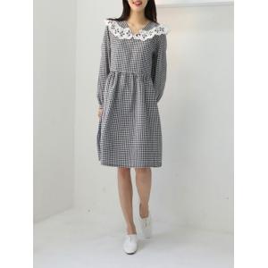 レディース ワンピース ギンガムチェックワンピース ひざ丈 春 きれいめ 体型カバー 大人カジュアル レディースファッション 韓国 韓国ファッション|legicajeana