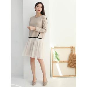 レディース  チュールドッキングワンピース  セット風  春 きれいめ 体型カバー 大人カジュアル レディースファッション 韓国 韓国ファッション|legicajeana