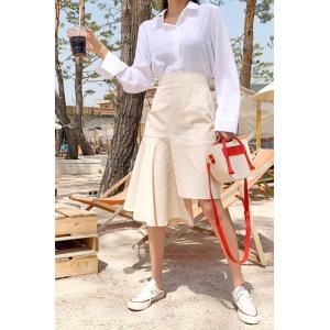 レディース スカート アシンメトリースカート  ひざ丈  春 きれいめ 体型カバー 大人カジュアル レディースファッション 韓国 韓国ファッション legicajeana