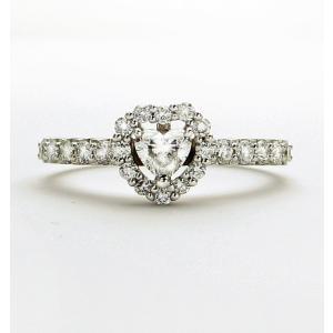 売り切れました。プラチナ ダイヤモンド ハート リング 0.212カラット 鑑定書付き Fカラー SI1 ハートシェイプカット 周りのメレダイヤ合計0.350カラット|lehaim
