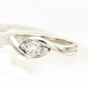 プラチナ ダイヤモンド デザイン リング 0.330カラット 鑑定書付き Gカラー SI2 トリプルエクセレント 横のメレダイヤ合計0.06カラット|lehaim