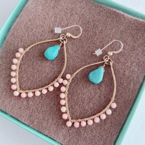 期間限定SALE 35%OFF/Bella Anela Jewelry/14kgf ピーチコーラル・ターコイズピアス|leimaikai-hawaii