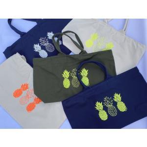 ファスナー&ポケット付ネオンカラーキャンバス地・BIGトートバッグ(パイナップル)/超軽量・フラバッグ・マザーズバッグ・肩掛け・大容量・洗濯可|leimaikai-hawaii